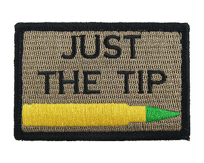 Just the Tip M855 Penetrator Coyote & Black Hook & Loop Embroidered Morale Tags