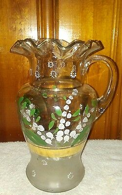 Antique Blown Glass Hand Painted Pitcher Frosted Base and Ruffled top