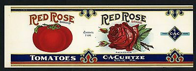RED ROSE Vintage Embossed, Tomato, **AN ORIGINAL 1910's TIN CAN LABEL** 731