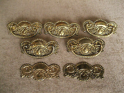 Antique Brass Ornate Stamped Plate Bail Pull Handle Drawer Hardware Lot Of 7
