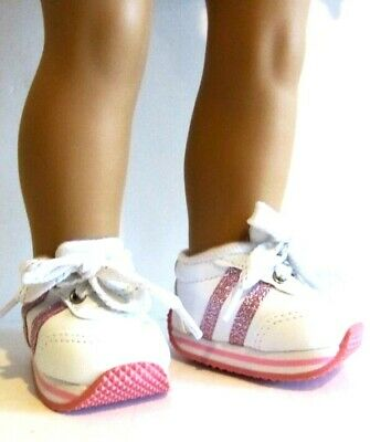 "WHITE SNEAKERS Pink Stripes Fits 18"" American Girl Doll or Journey Girl"