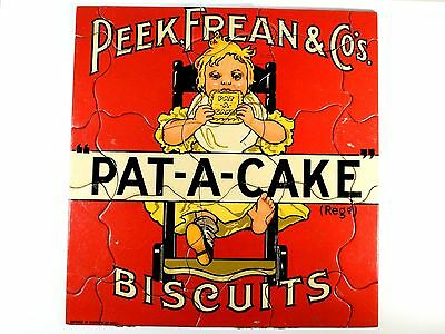 ANTIQUE PEEK, FREAN & CO'S PAT-A-CAKE BISCUITS ADVERTISING JIGSAW PUZZLE C1900s