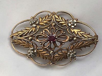 Big Antique Old Cut Diamond And Ruby 14k Gold Pendant/brooch -10.8g