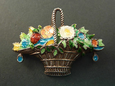 QUALITY C19th SILVER AND ENAMEL FLOWER BASKET BROOCH