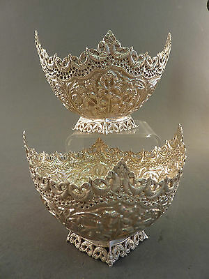 Super Pair Of Indian Silver Pierced And Chased Sweet Bowls