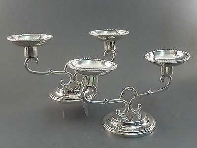 PAIR OF 1930s SILVER TWO BRANCH LOW CANDELABRA