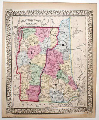 1867 Vermont & New Hampshire, Mitchell Antique Hand-Colored Map