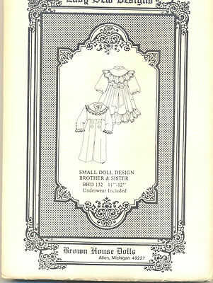 """Sister and Brother Doll Pattern 11""""-12"""" BHD 132"""