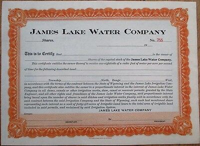 James Lake Water Company 1900 Stock Certificate - Wyoming WY