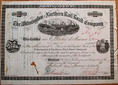 Wilmington & Northern Railroad 1881 Stock Certificate- HENRY A DU PONT Autograph