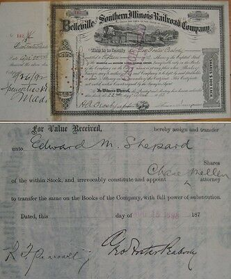 GEROGE FOSTER PEABODY Autograph/Signed - Belleville & Southern IL Railroad Stock