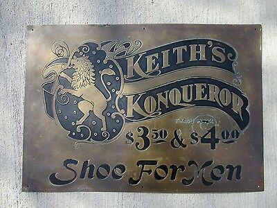 Great original 19th Century Brass Shoe Sign Keith's Konqueror 20 x 14""