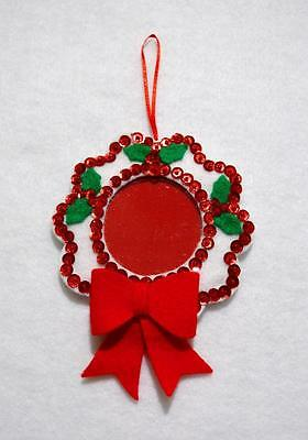 """Hand Crafted 5"""" White Felt Wreath Jewelled Christmas Photo Ornament"""
