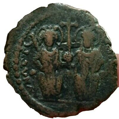 Well-Educated Justin Ii And Sophia 565-578 Ad Large K Coins & Paper Money