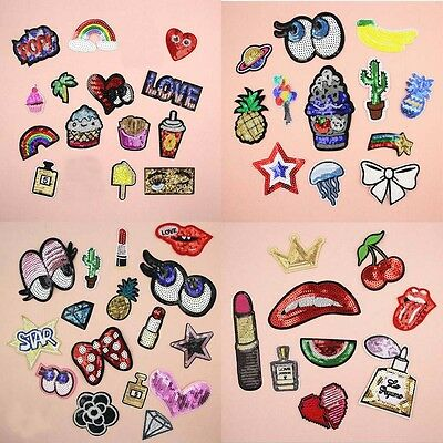 Paillette Embroidered Sew Iron On Patch Badge Bling Sequins Bag Clothes Applique