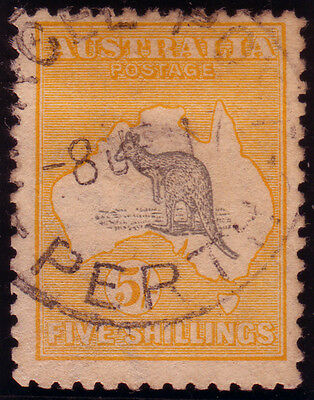 Australia, SG 30, 1915 W5 5/- grey and yellow very fine used, Cat £350.