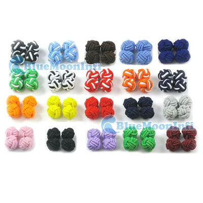 20 pairs Colour silk Tie knot Cufflinks Cuff Links Cool Color