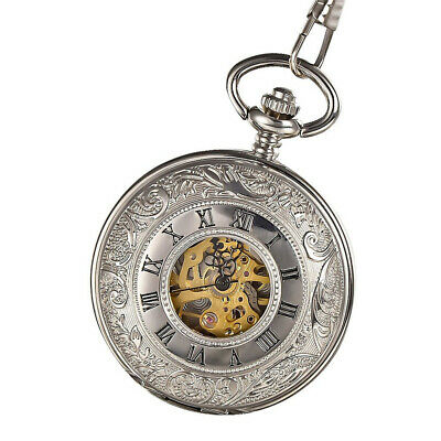 Mens Mechanical Pocket Watch Double Hunter Swiss Antique Style Silver with Chain