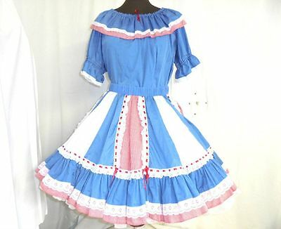 Ladies square dance outfit skirt blouse blue red gingham check see measurements
