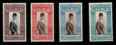 EGYPT SG178a/81a 1929 PRINCE FAROUK BIRTHDAY SET CHANGED CENTRE MTD MINT