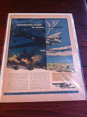 Vintage 1943 Bendix Aviation Invisible Crew B-17 Bomber WW II Print ad