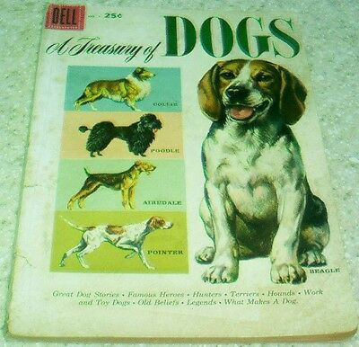 A Treasury of Dogs 1, (VG/FN 5.0) 100 page Dell 1956,  50% off Guide
