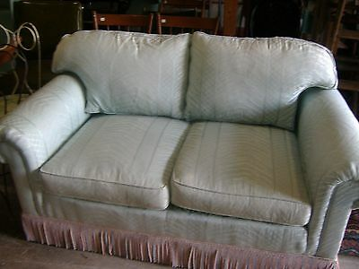Contemporary Ice Blue Upholstered Over Stuffed Loveseat Sofa