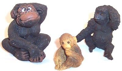 Lot Trio of 3 Small Gorilla Monkey Ape Figurines