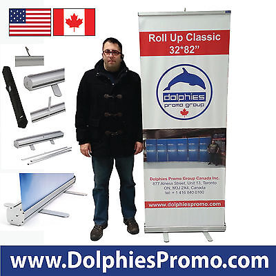 Trade Show Retractable Roll Up Banner Stand PULL UP Display + FREE CUSTOM PRINT