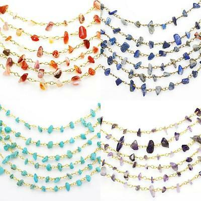 Semi-precious Gemstone Chips Beaded Rosary Chains Gold Plated Jewellery Making