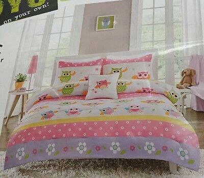 New OYO On Your Own 3 Piece Twin Comforter Mini Set OWL Design New Super cute!