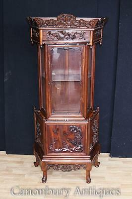Antique Chinese Padauk Hand Carved Display Cabinet Relief Carving Bookcase 1890