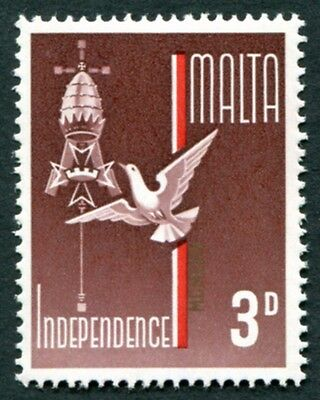 MALTA 1964 3d brown-purple, red and gold SG322 mint MNH FG Independence #W18
