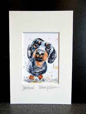Dachshund. Mini art print from an original painting by Suzanne Patterson