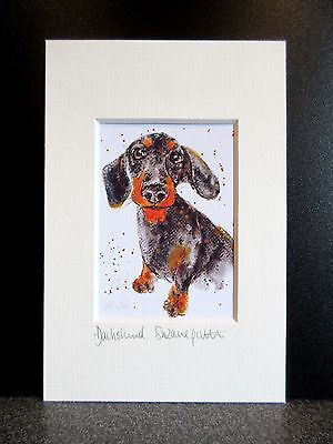 Dachshund. Mini art print from an original painting by Suzanne PattersonX