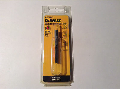 "Dewalt DW6413 Carbide 1/4"" Cut Diameter 2 Flutes Straight Router Bit 1/4"" Shank"