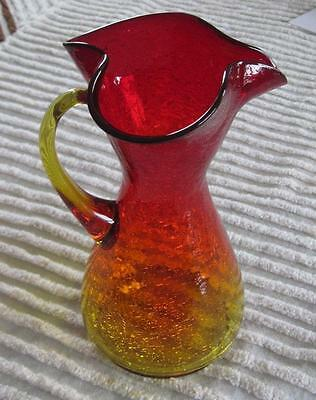 "Ruby Amberina Crackle Glass 11"" PItcher Ewer"