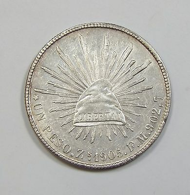 BARGAIN 1905-Zs FM MEXICO Silver 1-Peso Coin ALMOST UNCIRCULATED