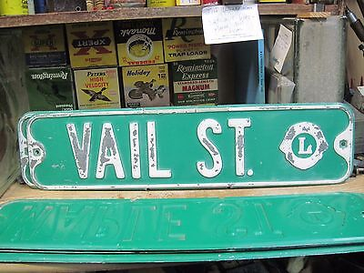 "embossed metal city street sign vail st steel green original retired 24"" town"