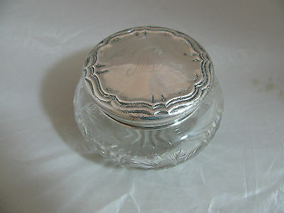 ANTIQUE STERLING SILVER & CUT GLASS POWDER JAR with HALLAMRKS