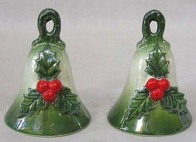 Vintage Christmas Pair Holiday Bells with Holly Decor 1960s