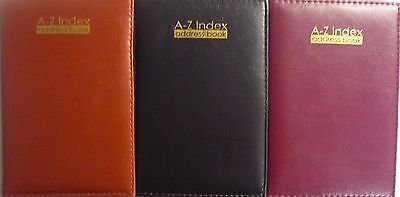 A5 Executive Style Padded A-Z A to Z Address Book. Brown, Black or Burgundy