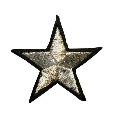 ID 3503 Black Star With Silver Dots Patch Shiny Embroidered Iron On Applique