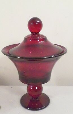 Vintage Ruby Red Stemmed Covered Candy Dish 10""