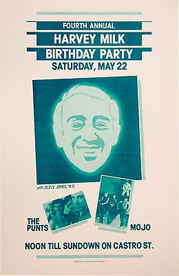 4TH ANNUAL HARVEY MILK BIRTHDAY PARTY 1982 CLEVE JONES gay icon event poster SF