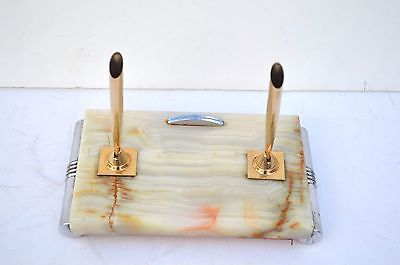 Beautiful Art Deco Era Onxy Marble And Chrome 2 Pen Set Holder Stand