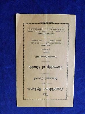 Consolidated By-Laws Booklet Municipal Council Township Of Oneida 1937 Canada