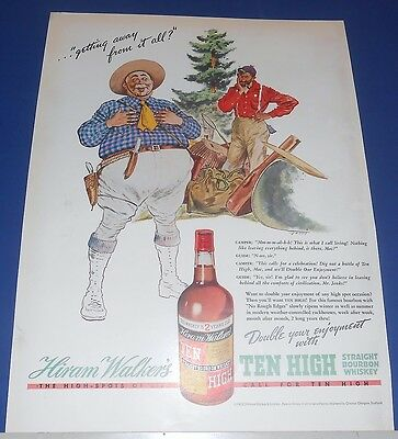1938 Ten High Whiskey Ad CAMPER & GUIDE getting away from it all