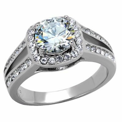 Womens 7x7mm Round Cut CZ Center in Cushion Shape Stainless Steel Bridal Ring