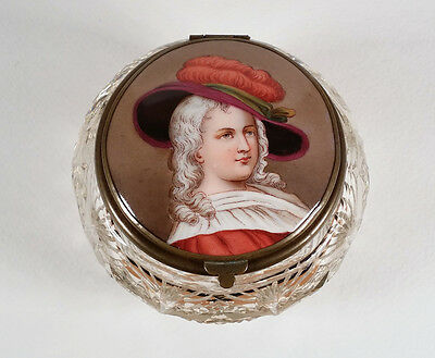 Antique Cut Glass Crystal Dresser Jar Box Decorated Porcelain Portrait Hinge Lid